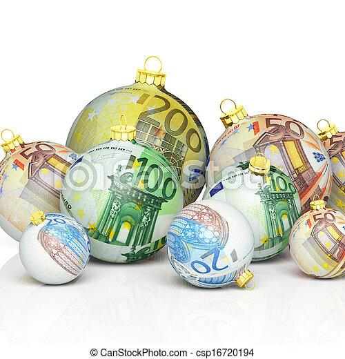 Christmas balls with money texture - csp16720194
