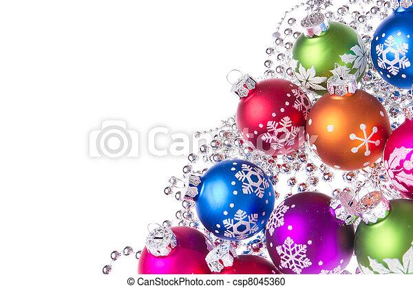 christmas balls with snowflake symbols - csp8045360