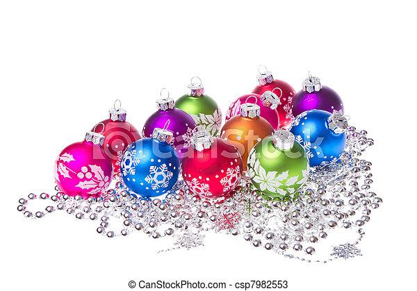 christmas balls with snowflake symbols - csp7982553