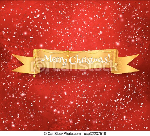Merry Christmas Ribbon Clipart.Christmas Banner On Red Background