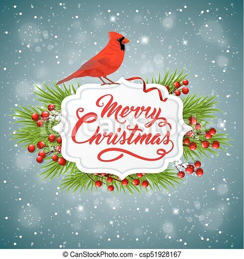 Christmas Cardinals Clipart.Christmas Banner With Red Cardinal Bird