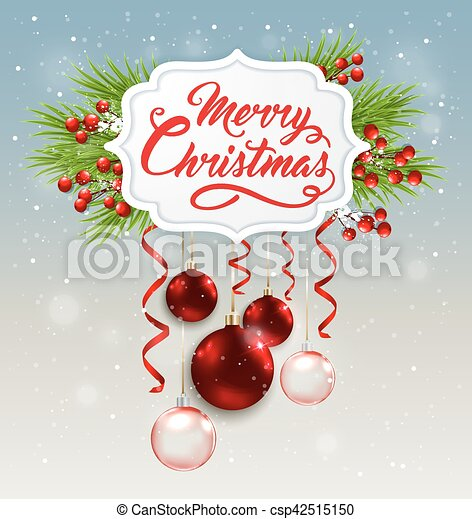 Christmas banner with red decorations - csp42515150