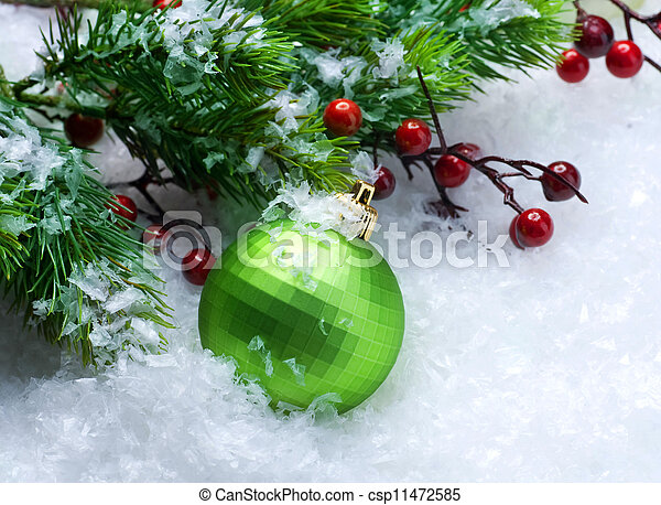 Christmas Bauble over Snow background - csp11472585