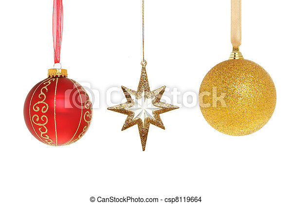 b3631d015b5d Christmas baubles and star. Red and gold christmas baubles and ...