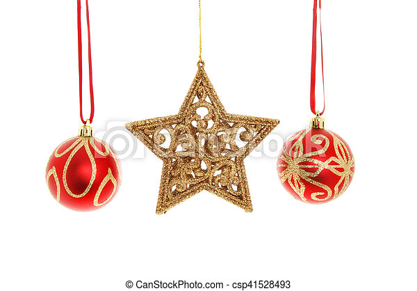 8c6defca45a0 Christmas baubles and star. Red and gold glitter christmas baubles ...