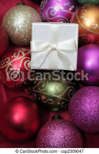 Christmas Baubles and White Gifts - csp2309047