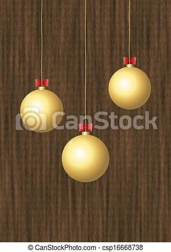 Christmas baubles gold - csp16668738
