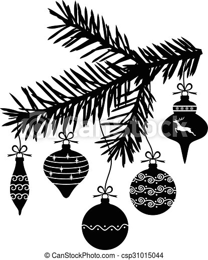 Christmas baubles hanging on fir branch - csp31015044