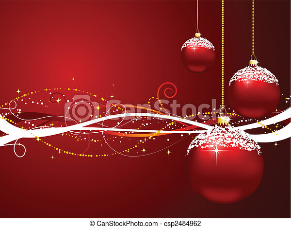 Line Art Vector Illustrator : Christmas baubles on decorative background vector illustration