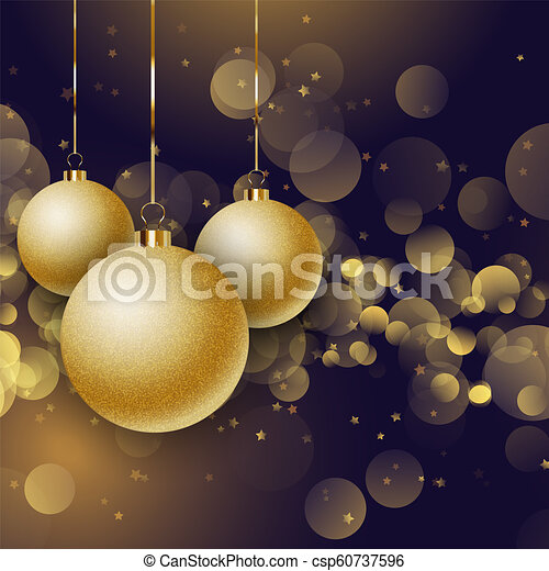 Christmas baubles on a bokeh lights background - csp60737596