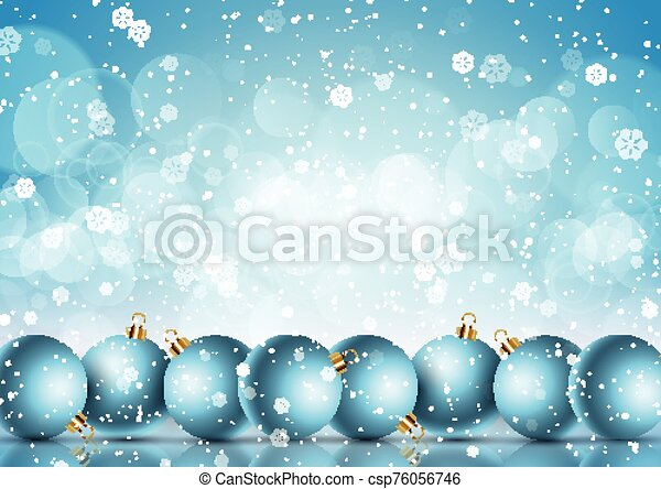 Christmas baubles on a snowflake background - csp76056746