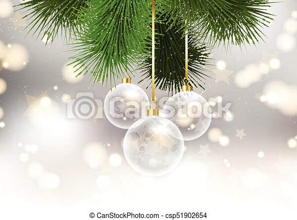 christmas baubles on bokeh lights background 2209 - csp51902654