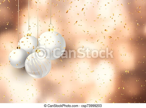 christmas baubles on confetti background 3008 - csp73999203