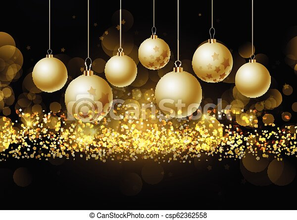 christmas baubles on glittery gold background 0208 - csp62362558