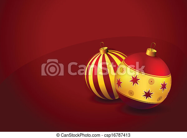 Christmas baubles on red background - csp16787413