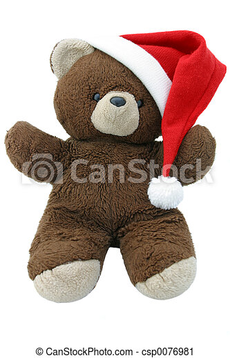 87bb8800c8a29 Christmas bear 1. A teddy bear wearing a santa hat. straight on view ...