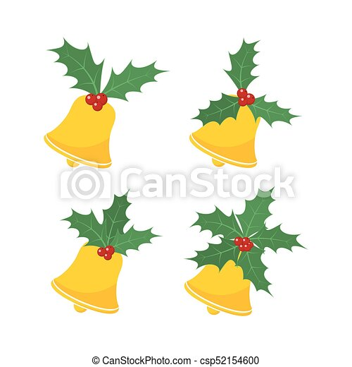Christmas Leaves.Christmas Bell With Holly Berry Leaves Vector Illustration