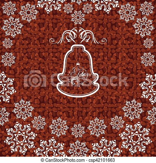 Christmas bell with snowflakes on the dark brown background - csp42101663