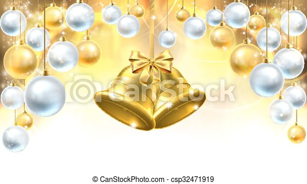 christmas bells decorations background csp32471919