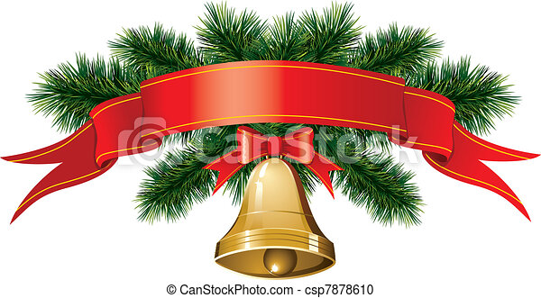 christmas bells with christmas tree csp7878610