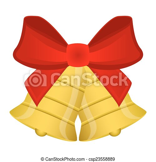 Christmas bells with red bow - csp23558889
