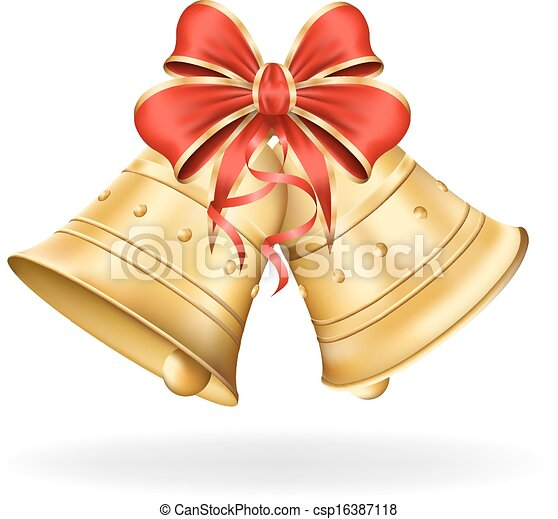 Christmas bells with red bow on white background. Xmas decorations. Vector eps10 illustration - csp16387118
