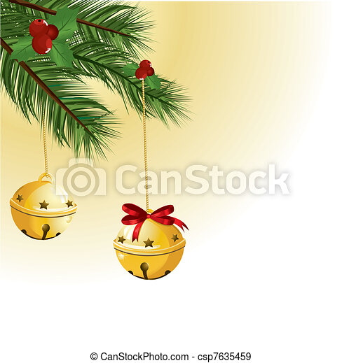 Christmas bells with red ribbon - csp7635459