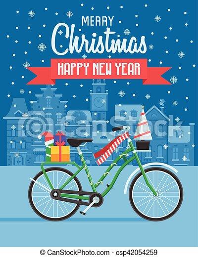 Christmas bike greetings card christmas bicycle wishing card with christmas bike greetings card csp42054259 m4hsunfo