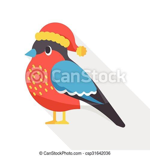 Christmas bird flat icon - csp31642036