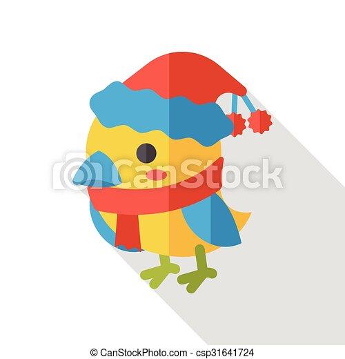 Christmas bird flat icon - csp31641724