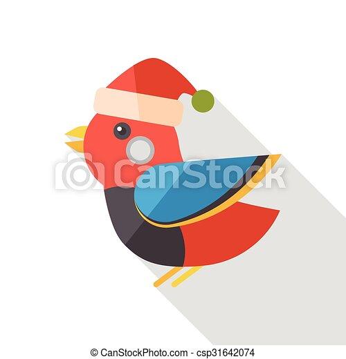 Christmas bird flat icon - csp31642074