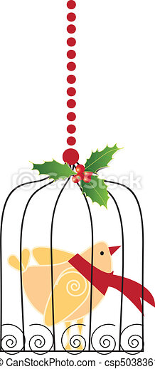 Christmas bird in cage - csp5038361
