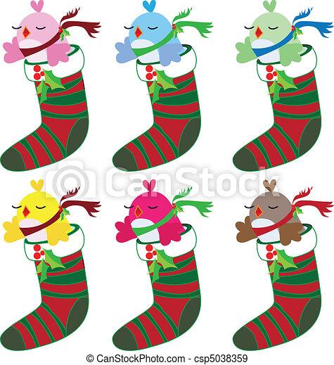 Christmas bird set in socks - csp5038359
