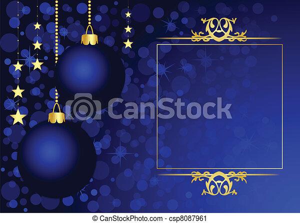 Christmas blue background - csp8087961