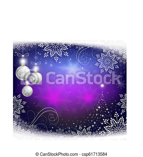 Christmas blue background with balls and an abstract Christmas tree. - csp61713584
