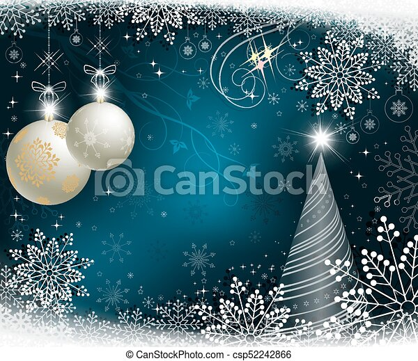 christmas blue background with christmas tree - csp52242866