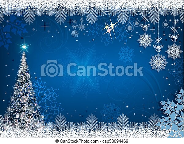 christmas blue background with christmas tree - csp53094469