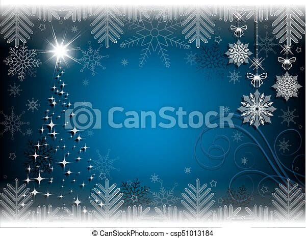 christmas blue background with christmas tree - csp51013184