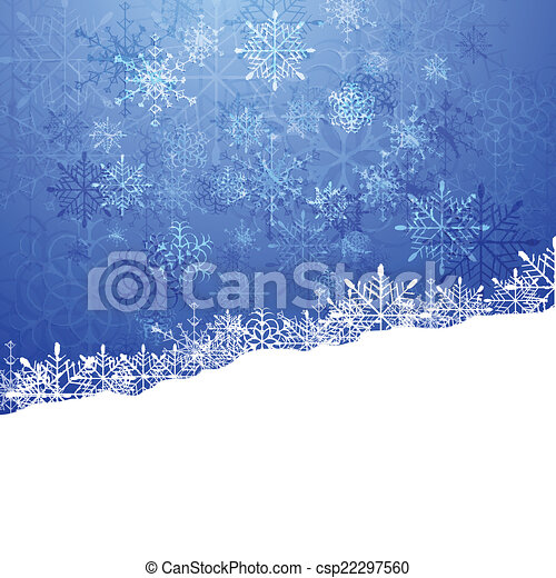 Christmas blue background with snowflakes - csp22297560