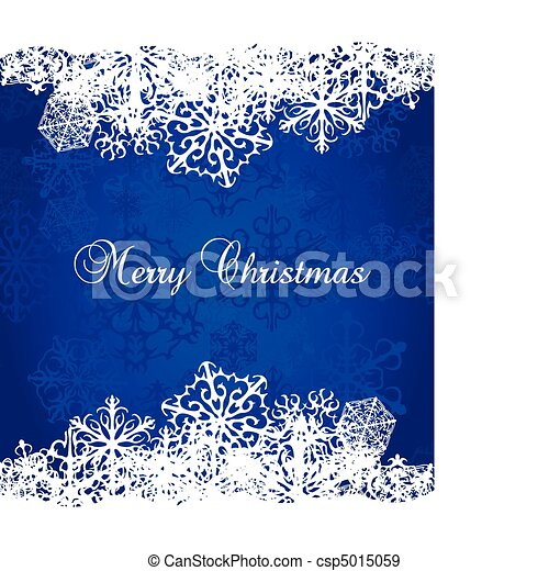 Christmas blue Background With Snowflakes - csp5015059