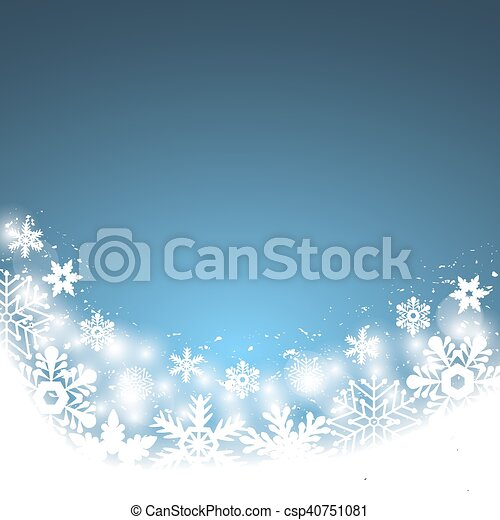Christmas blue background, with snowflakes - csp40751081