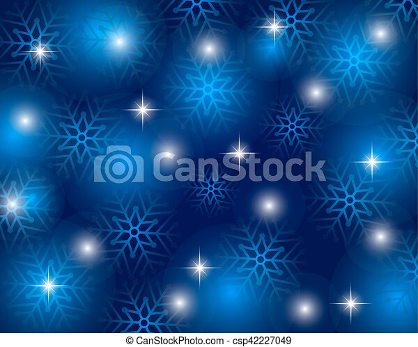 Christmas blue background with snowflakes, vector - csp42227049
