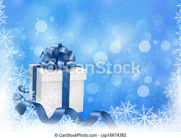 Christmas blue background with gift box and snowflakes. Vector illustration. - csp16674382