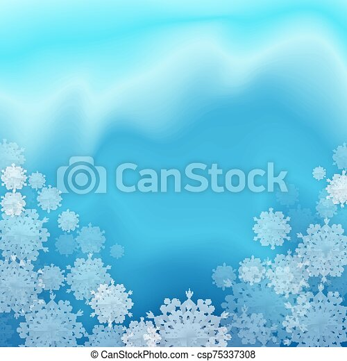 Christmas Blue Background with Snowflakes - csp75337308