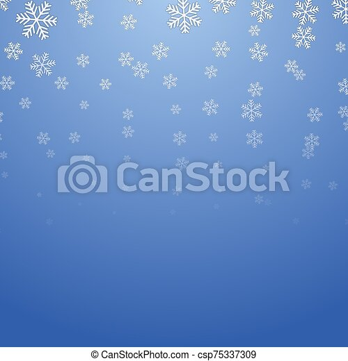 Christmas Blue Background with Snowflakes - csp75337309