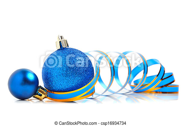 Christmas blue baubles with a ribbon - csp16934734