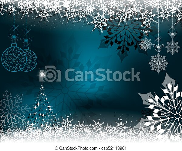 Christmas blue card with dark snowflakes - csp52113961