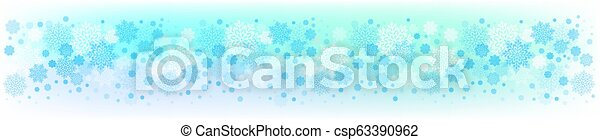 Christmas blue design with a set of white graceful snowflakes. - csp63390962