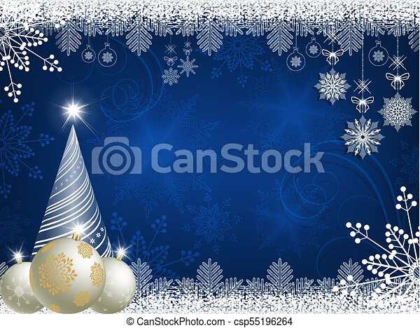 christmas blue design with christmas tree - csp55196264