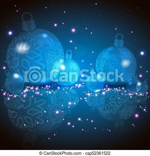 Christmas blue design with glass balls - csp52361522